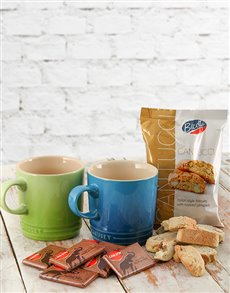 gifts: Le Creuset Coffee Mugs with Chocolates & Biscotti!