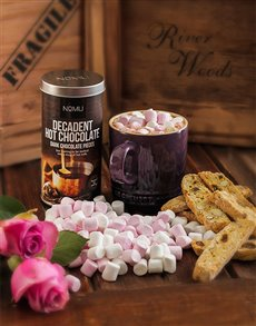 flowers: Le Creuset Mug with Hot Chocolate and Marshmallows!