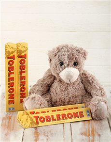 gifts: Toblerone and Teddy Hamper!
