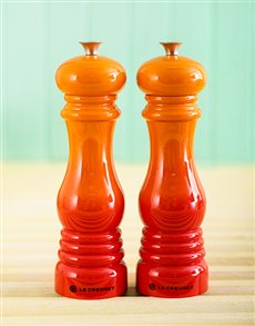 gifts: Le Creuset Salt and Pepper Mills   Flame!