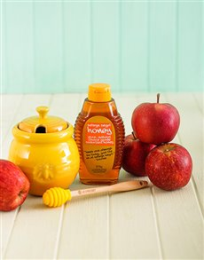 gifts: Le Creuset Honey Pot with Honey and Apples!