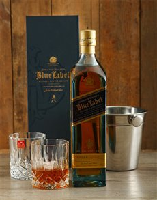 gifts: Johnnie Walker Blue Label with Ice Bucket and Crys!