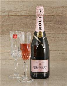gifts: Pink Moet & Crystal Flute Glasses!