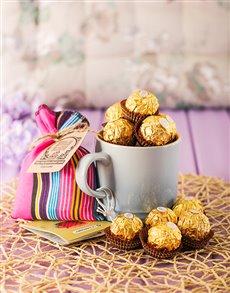 gifts: Le Creuset Coffee Mug and Ferrero   Coastal Blue!
