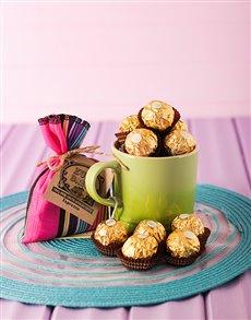 gifts: Le Creuset Coffee Mug and Ferrero   Kiwi!