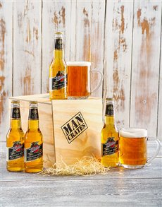 gifts: 4 Pack of Miller Beers in a Man Crate!