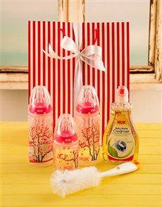 gifts: Baby Girl Bottle Gift Set!