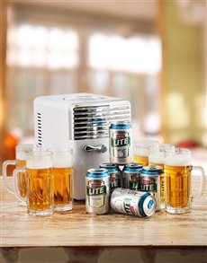 gifts: Desk Fridge with Castle Lite and Beer Mugs!