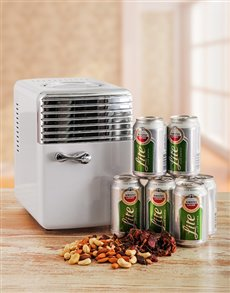 gifts: Desk Fridge with Amstel Lite and Snacks!