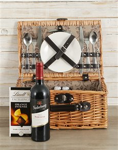 gifts: Wine and Lindt Picnic Basket!