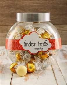 gifts: White Lindt Chocolate ball Candy Jar!