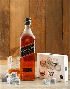 gifts: Johnnie Walker Black and Whiskey Stones!