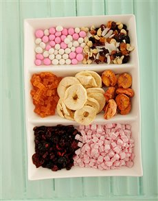 gifts: Pink Platter With Fruit and Nuts!