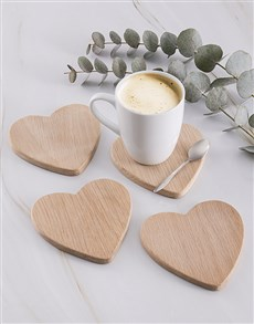 gifts: Laid back Weathered Oak Heart Coasters!