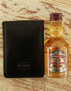 gifts: Busby Business Card holder & Mini Chivas Regal!