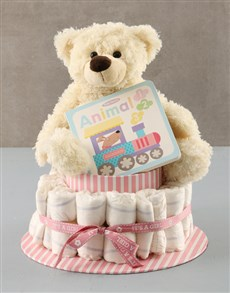gifts: Baby Girl Nappy Cake!