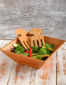 gifts: Bamboo Salad Bowl & Salad Servers!