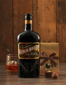 gifts: Black Bottle Whiskey and Truffles!