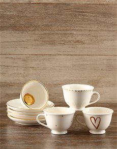 gifts: Gold Heart Tea Set!