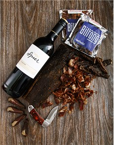 gifts: Spier Merlot and Biltong Knife Hamper!