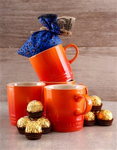 gifts: Four Le Creuset Mugs, Coffee and Ferrero Rocher!