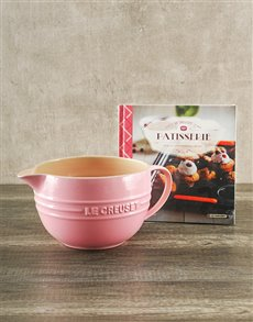 gifts: Le Creuset Chiffon Pink Batter Bowl and Cookbook!