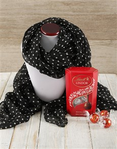 gifts: Black Polka Dot Scarf and Lindt Truffle Gift!