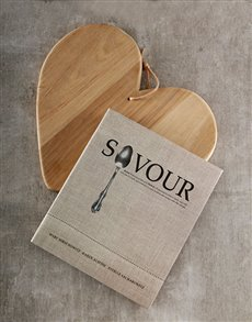 gifts: Savour Cookbook and Chopping Board Hamper!