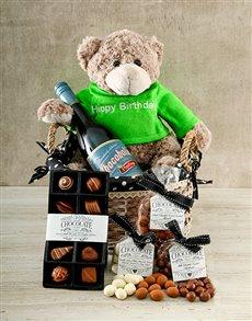 gifts: Birthday Chocoholic, Wine and Bear Hamper!