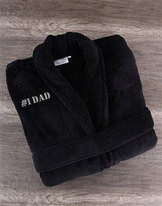 gifts: Number 1 DAD Black Fleece Gown!