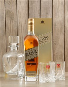 gifts: Johnnie Walker Gold, Glasses & Decanter!