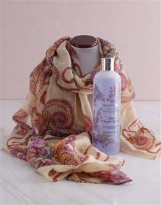 gifts: Tribal Scarf & Bath Time Hamper!