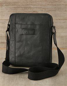 gifts: Black Busby Genuine Leather Cross Bag!