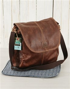 gifts: Peppertree Dark Leather Baby Nappy Bag!