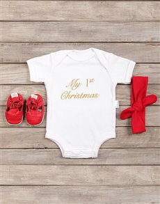gifts: My First Christmas Baby Girl Outfit!