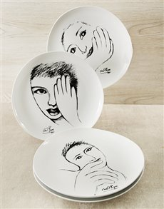 gifts: Carrol Boyes Face Dinner Plate Set!