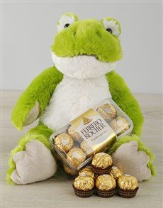 gifts: Green Frog and Ferrero Rocher!