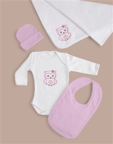 gifts: Baby Girl Five Piece Owl Gift!