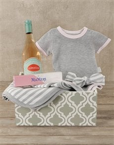 gifts: Pink & Grey Mom and Baby Gift Crate!