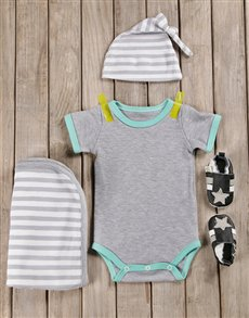 gifts: Mint & Grey Stripy Baby Boy Outfit!
