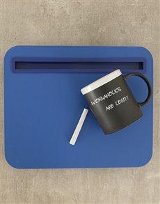 gifts: iBed Lap Desk and Chalk Mug!