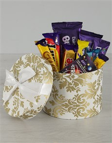 gifts: White and Gold Cadbury Hat Box!