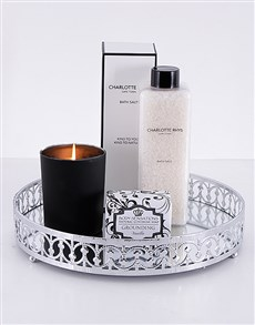 gifts: Silver Round Mirror Tray and Bath Gift Set!