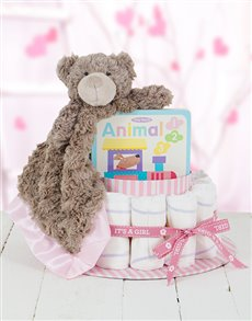 gifts: Pink Cuddle Story Time Nappy Cake !