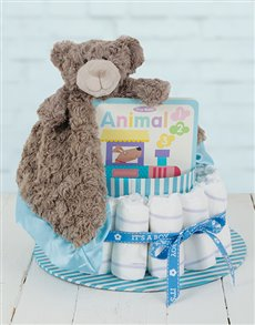 gifts: Blue Cuddle Story Time Nappy Cake!