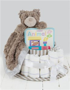 gifts: Grey Cuddle Story Time Nappy Cake!