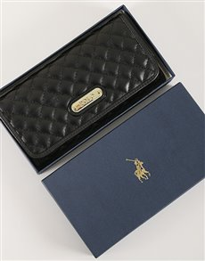 gifts: Black Polo Small Quilt Clutch Purse!