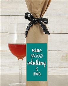 gifts: Adulting is Hard Wine in Craft Paper!