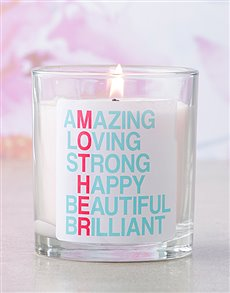 gifts: Pink Mother Attributes Candle!