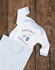 gifts: Happy First Fathers Day Blue Onesie!